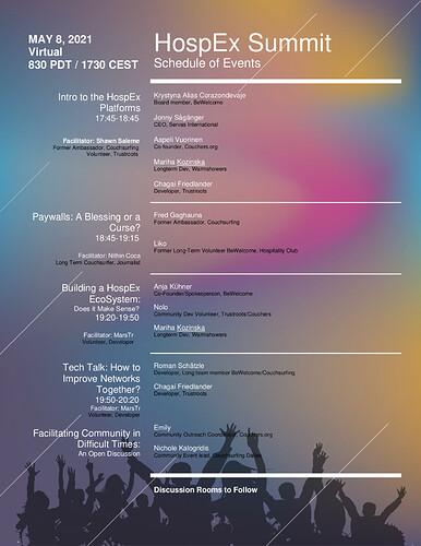 HospEx Summit Schedule of Events